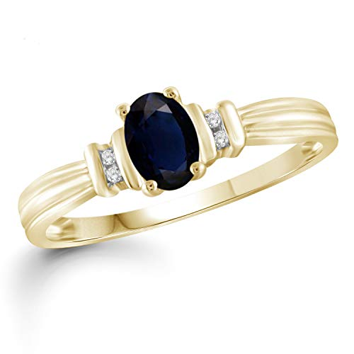 Jewelexcess 0.60 Carat T.G.W. Sapphire and Accent White Diamond 14kt Gold Over Silver Ring ()