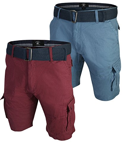 Beverly Hills Polo Club Men's Belted Stretch Cargo Short (2 Pack), Burgundy/Blue, Size 30