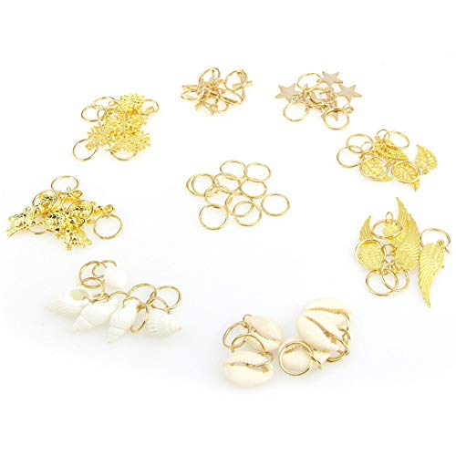 50pc DIY Dreadlock Hair Beads Hair Braid Pins Rings Cuff Clips Jewelry Decor Set