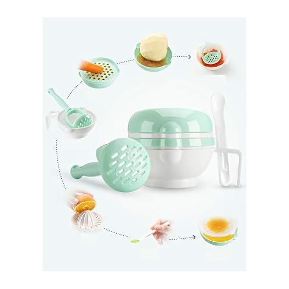 Skudgear 7-in-1 Baby Food Masher, Serve Bowl, Sieve, Juice Maker, Grater, Sensitive Spoon, Lid