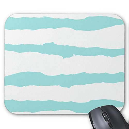 Brushstroke Stripe - Modern Abstract Pastel Blue Brush Strokes Stripes Mouse Pad