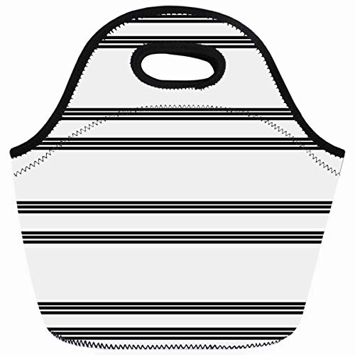 - Ahawoso Reusable Insulated Lunch Tote Bag Black White Stripe Wave Zippered 10X11 Neoprene School Picnic Gourmet Lunchbox