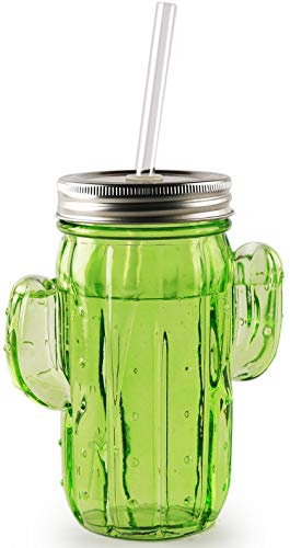 Circleware Green Cactus Mason Sipper with Lid and Straw, Set of 9, 15.5 Oz