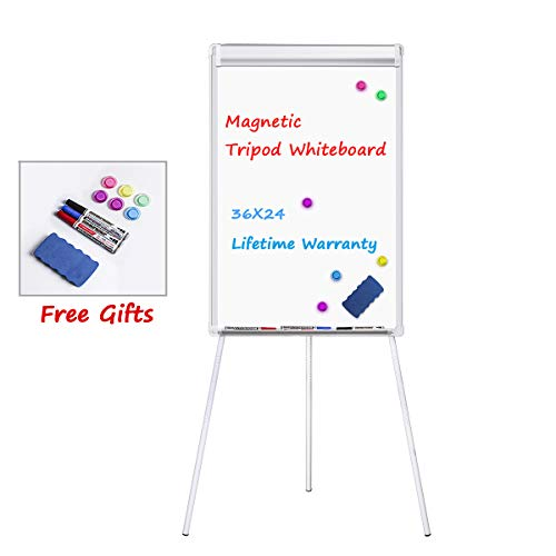 Easel White Board, WEYOUNG Portable Dry Erase Easel Board Magnetic Tripod Whiteboard Flipchart Easel Height Adjustable, White Board Easel with 1 Eraser, 3 Markers, 6 Magnets (36x24 inches)