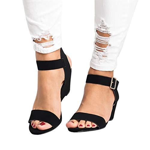 1e9199fb823 Gyouanime Women Mid Heel Sandals Office Sandals Slippers Buckle Strap Roman Shoes  Sandals Outdoor Workout Sandals