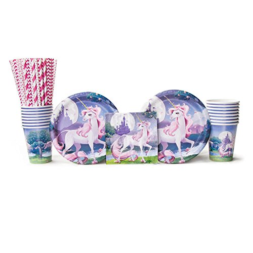 Unicorn Fantasy Party Supplies Pack for 16 Guests Includes: Straws, Dessert Plates, Beverage Napkins, and Cups (Bundle for 16) (Fantasy Party Supplies)