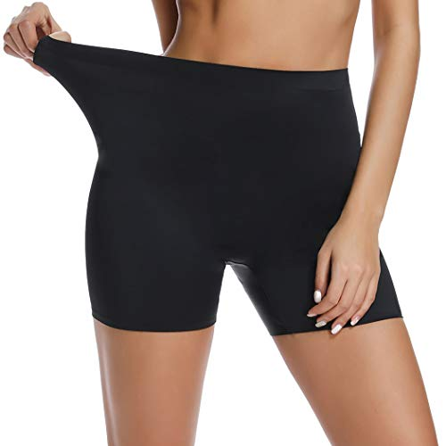 WOWENY Boyshorts Panties for Women Seamless Mid High Waist Underwear Cotton Slip Shorts Under Dresses (Black, ()