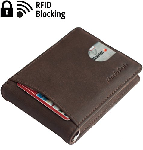 Best Leather Slim Wallets RFID blocking Brown Mens Minimalist Thin Bifold for Front Pocket with Money Clip ID Window Credit Card Holder For Up To 8 Cards