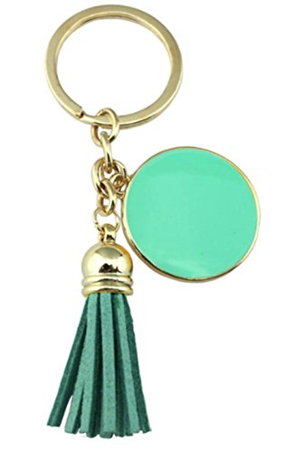 StylesILove Colorful Enamel Disc Tassel Key Chain Bag Purse Charms Key Rings (Gold - Enamel Ring Key