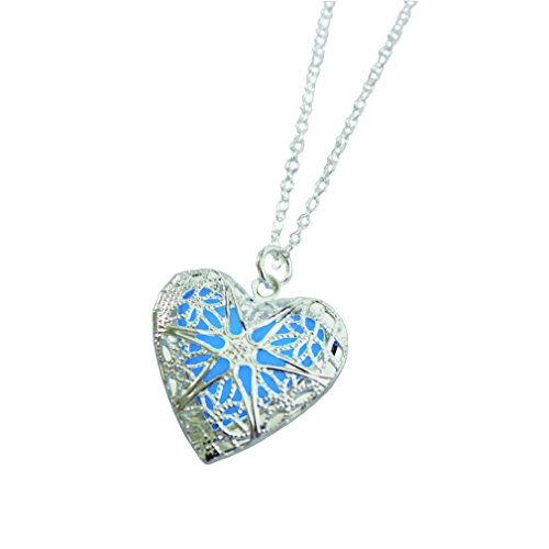 Heart Locket Glowing Necklace Personalized Silver Plated Bronze Jewelry Royal Blue 18 Inches (Personalized Silver Plated Heart)