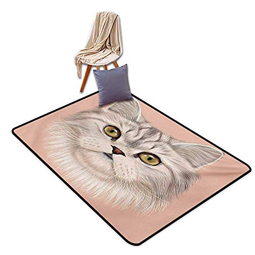 (Cat Latex Backing Non Slip Door Mat Cute Kitty Portrait Whiskers Best Pet Animal I Love My Feline Themed Artwork Water Absorption, Anti-Skid and Oil Proof 55
