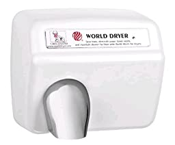 World Dryer XM5-974 AirMax High Speed and Heavy Duty Hand Dryers, Automatic, 110-120V, Cast Iron White