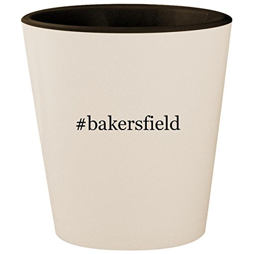 #bakersfield - Hashtag White Outer & Black Inner Ceramic 1.5oz Shot Glass