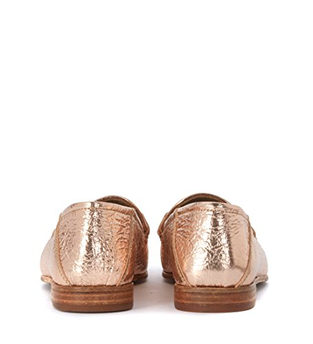 LEMARE''''' Pink Pink Leather Laminated Golden Loafers Cracked r1a7rxn