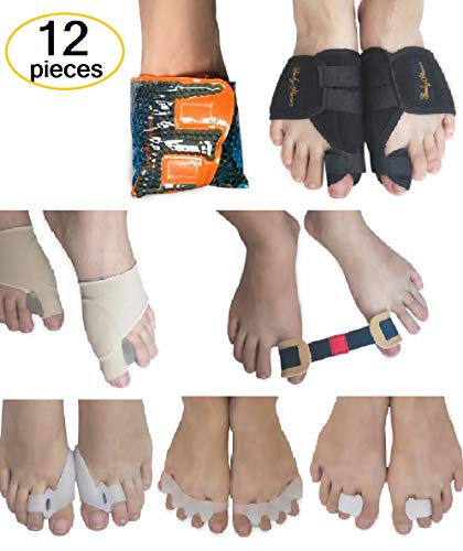 BodyMoves Bunion Corrector Set with Reusable hot and Cold Gel Pack Big Toe Orthopedic Splint for Pain Aid, Hallux valgus Turf Toe Tailors Bunion Hammer Toe Straightener and Separator – DiZiSports Store