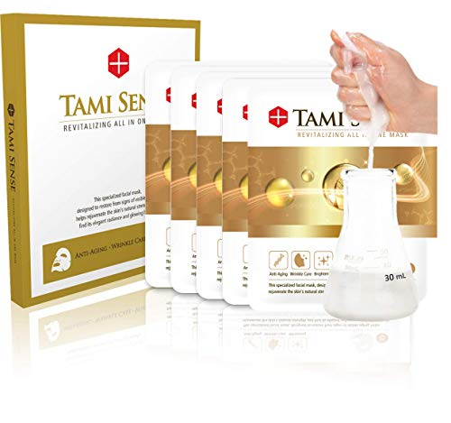 FAMENITY TAMI SENSE Korean EGF Mask Peptide Stem Cell Fermented Rice Extract Essence Ampoule K Beauty Facial Tencel 5 Mask Sheets-5 Weeks Supply-Instant Glow Effect for Dewy Skin, Anti Aging