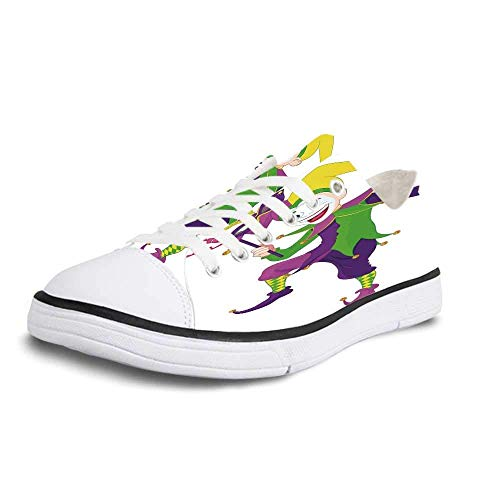 Canvas Sneaker Low Top Shoes,Mardi Gras Cartoon Style Jester in Iconic Costume with Mask Happy Dancing Party Figure Women 10/Man 7 ()