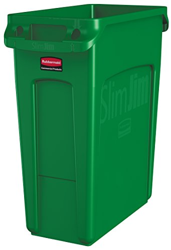 Rubbermaid Commercial Vented Slim Jim Trash Can Waste Receptacle, 16 Gallon, Green, Plastic, 1955960