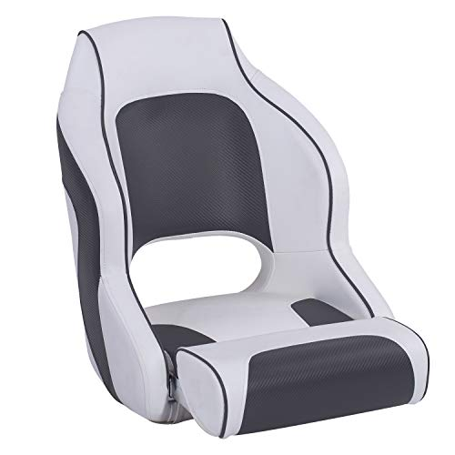- North Captain M1 Flip Up Boat Seat with Bolster,Bucket Seat,Captain Seat,White/Charcoal