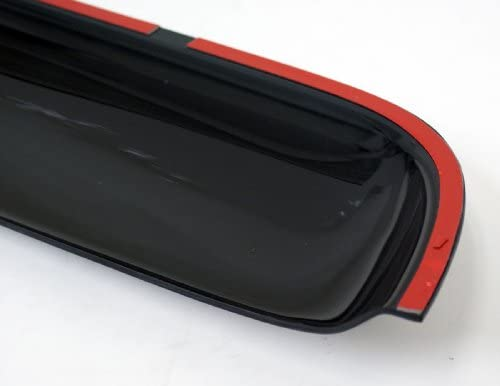 TuningPros WSV3-586 3.0mm Sunroof Moonroof and Out-Side Mount Window Visor Deflector Rain Guard Dark Smoke 5-pc Set