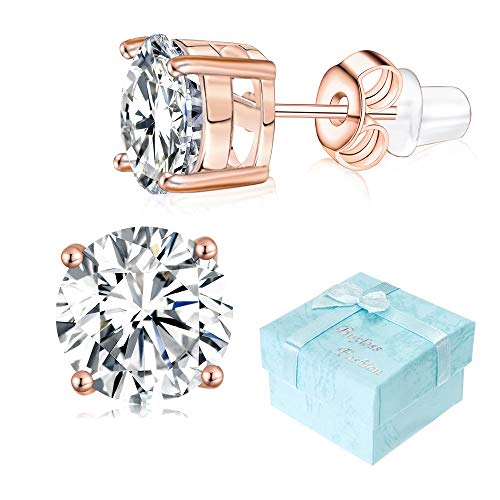 Buyless Fashion Girls Stud Earrings 14K Rose Gold Plated White Zirconia Gift Box - ECZCRSG3MM