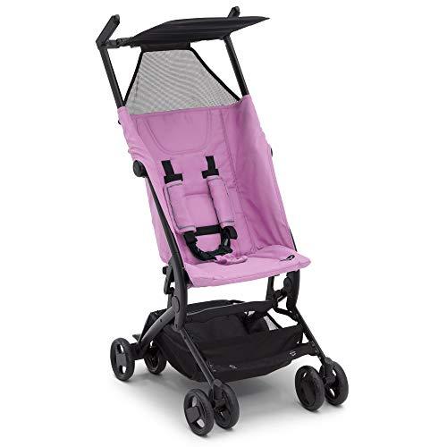 Delta Children Ultimate Fold N Go Compact Travel Stroller | Foldable Travel Bag | Umbrella Canopy | Storage Basket | Pink