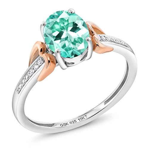 Gem Stone King 1.19 Ct Oval Blue Apatite 925 Silver With Diamond 10K Rose Gold Ring (Size 8)