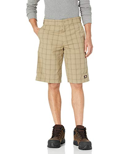 Dickies Men's 13 inch Regular Fit Short, Desert Sand/Pebble Brown Plaid, 34