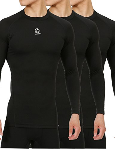 10STAR11 ARMEDES Men's Compression 3 Pack Base Layer Cool Dry Work Out Long Sleeve T-Shirt (3 Pack Base)