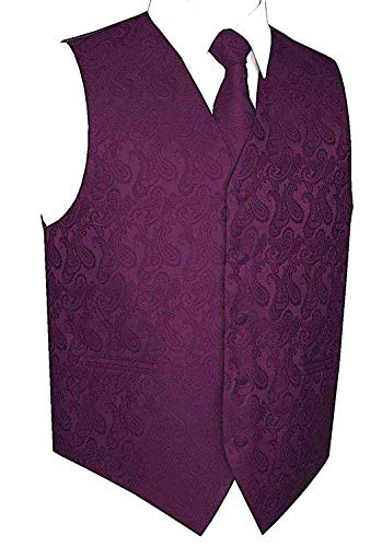 Men's 3pc Paisley Vest (XL (Chest 46), Dark Purple) -
