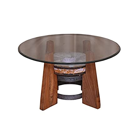 Amazon.com: Round Coffee Table with Glass Top, Living Room ...