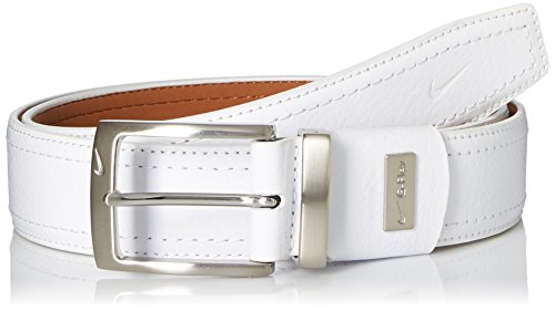 Patent Leather Harness - Nike Men's G-Flex Pebble Grain Leather Belt, White, 36