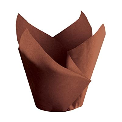 """Hoffmaster 611117 Tulip Cup Cupcake Wrapper/Baking Cup, 2"""" Diameter x 3-1/2"""" Height, Small, Chocolate (Pack of 1000)"""