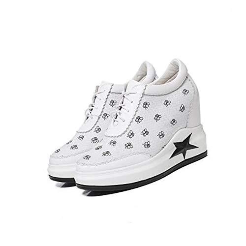 ZHZNVX Dedo pie Comfort Sneakers Primavera Creepers Leather Mujer Nappa del Verano Blanco Cerrado Negro de Zapatos Black del B68r7B