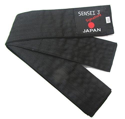 Cintura Nera Super Morbida Obi Iaido Cucitura a 6 File KNDO AIKIDO SENSEI J-400cm x 8cm