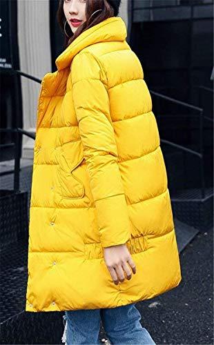 Invierno Fit Gelb Manga Abrigo Sólido Pluma Parka Modernas Color Casuales Outerwear Termica Elegantes Largo Acolchado Espesar Mujer STnfndqB