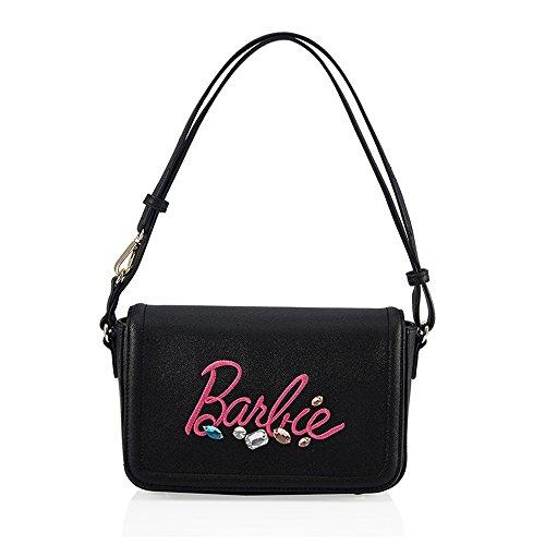 Barbie BBFB271 2017 Colección Nueva Bolsos Mujeres Negros con Dibujo de Logo