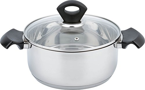 olished Stainless Steel Kitchen Induction Cookware Casserole with G Type Shock Resistant Glass Lid,Dia 10.2