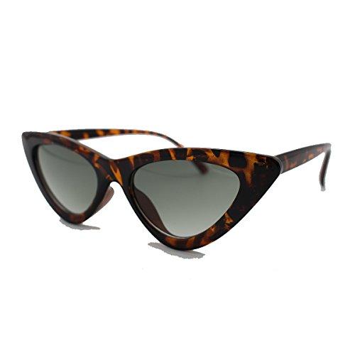 Livhò Retro Vintage Narrow Cat Eye Sunglasses for Women Clout Goggles Plastic Frame (Leoaprd Grey) Plastic Women Sunglasses