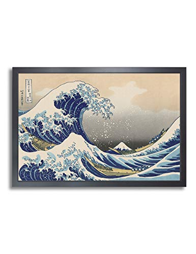 DECORARTS - The Great Wave Off Kanagawa by Katsushika Hokusai. The World Classic Art Reproductions. Giclee Print Match Solid Wood Frame, Picture Size: 30x20