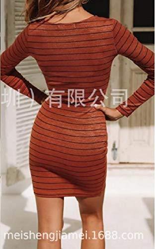 Fit A Lunghe Ad Passo Vestito Maniche Arancione Sera donne Silm Stampati Coolred Strisce Strappy Un EqngfgFwpX