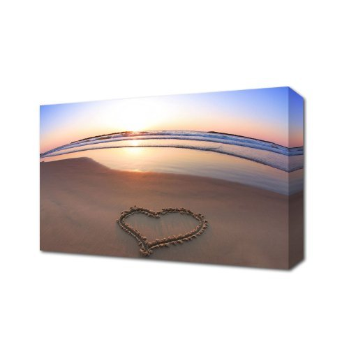 HEART IN SAND SEASHORE LOVE HEART LANDSCAPES CANVAS ART PRINT BOX CANVAS 30 X 20 INCHES READY TO HANG by THE VINYL ()