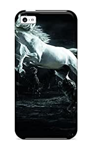 Faddish Phone White Horse Surrounded By Wolves Case For Iphone 5c / Perfect Case Cover