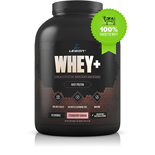 Legion Whey+ Strawberry Banana Whey Isolate Protein Powder from Grass Fed Cows, 5lb. Low Carb, Low Calorie, Non-GMO, Lactose Free, Gluten Free, Sugar Free. Great for Weight Loss & Bodybuilding. Review