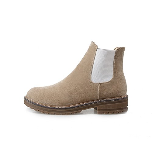 AdeeSu Ladies Color Matching Thick Bottom Heel Composite Frosted Boots Beige zEWYyoK
