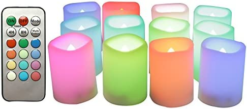 LED Color Changing Flameless Votive Candles Battery Operated Flickering Multi-Color Decorative D cor Candle Lights with Remote and Timer for Xmas Christmas Wedding Party Event 1.5 x2 12-Pack