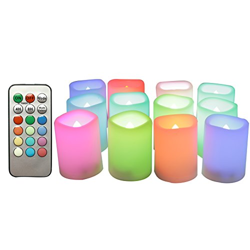"CANDLE CHOICE 12-Pack Realistic Color Changing Flameless Votive Candles Bright Battery Operated RGB Multi-Color LED Votives with Remote and Timer 1.5""x2"" Party Wedding Birthday Holiday Décor Gift ()"