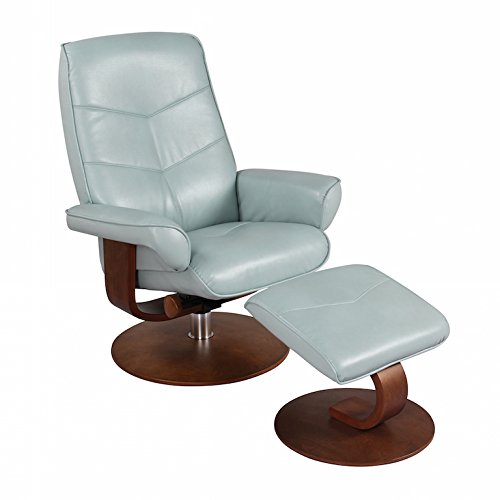 - Nalani Soft Tough Synthetic Leather Swivel Recliner Chair and Ottoman Lounger (Pastel Blue)