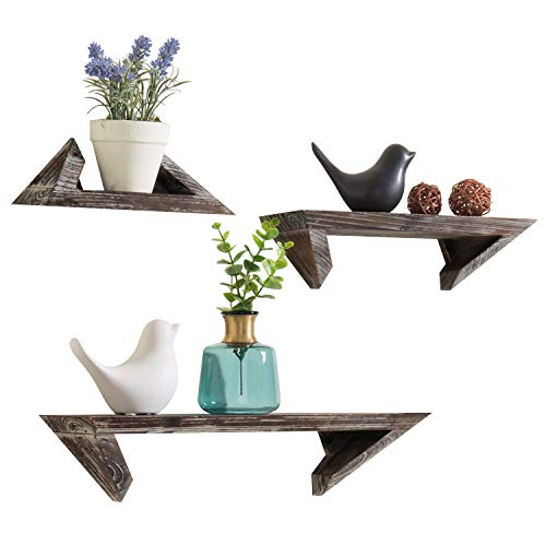 Modular Cottage Office (MyGift Torched Wood Wall-Mounted Hanging Shelves, Set of 3)