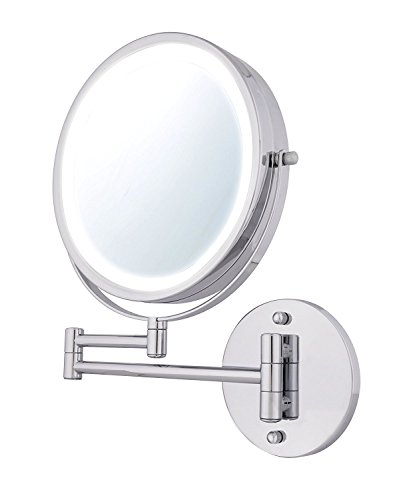 moon moon 7-Inch LED Lighted Wall Mount Makeup Mirror with 3x Magnification,Double-Sided Lighted Makeup Mirror (Mirror Moon)